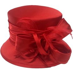 Swan Women's  Silk Fabric Covered Hat with Silk Bow and Feathers ($48) ❤ liked on Polyvore featuring accessories, hats, feather hat, silk hat, bow hat and red hat