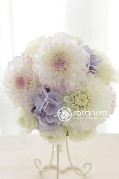No.f0142・ウエディングブーケ(生花) | rosarium Pastel Bouquet, Church Flower Arrangements, Floral Arrangements, Purple Roses, Pink Peonies, Fall Bouquets, Wedding Bouquets, Romantic Flowers, Wreaths