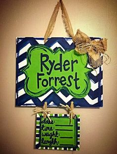 Lime green and navy chevron hospital door hanger for baby. Very easy and made for less than $10!