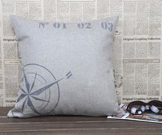 Linen pillow case with compass design-nautical inspired decorative throw pillow made with natural linen-accent pillow case