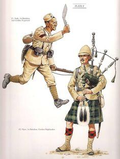 "Naik Battalion Gurkha Regiment & Piper Battalion Gordon Highlanders From "" The Frontier Ablaze"" British Army Uniform, British Uniforms, British Soldier, Military Photos, Military Art, Military History, Military Uniforms, Commonwealth, Soldado Universal"