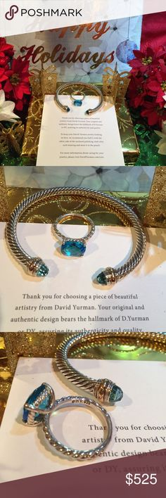 💯🎄David Yurman set in topaz with classic cable 🎁David Yurman 5mm bangle and classic cable ring size 7 in the stunning topaz blue. DY hallmark 925 and pouches for both will be included.  These are polished to brand new gift condition.  🎄🎄🎄🎄 David Yurman Jewelry Rings