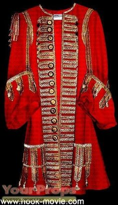 Captain Hook coat worn by Dustin Hoffman in Hook The coat lost some buttons. Designed by Anthony Powell. Peter Pan Costumes, Movie Costumes, Halloween Costumes, Captain Hook Kostüm, Peter Pan Kostüm, Hook Movie, Crocodile Costume, Anthony Powell, James Hook