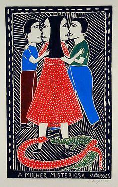 A Mulher Misteriosa  José Francisco Borges (Brazil),  Woodcut print (color) on paper (19 1/2 x 12), 2004