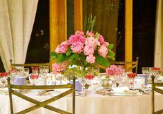 centro de mesa paeonias rosas