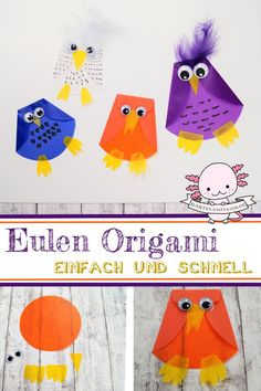 Eulen Origami basteln A quick and easy owl origami. For a beautiful window decoration in kindergarten or at home. Crafts with toddlers and children Origami Owl, Origami Tattoo, Origami Butterfly, Origami Animals, Origami Paper, Diy Crafts To Do, Upcycled Crafts, Fall Crafts, Nature Crafts