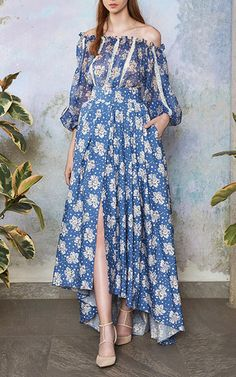 Cotton Printed Maxi Skirt With Train by LUISA BECCARIA for Preorder on Moda…