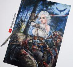 Ciri vs Werewolves Witcher 3, Blondynki Też Grają on ArtStation at https://www.artstation.com/artwork/54KAg