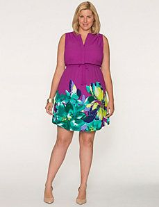 Floral hem shirt dress - Lane Bryant