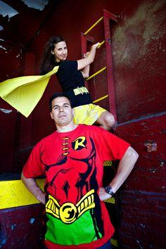 creative superhero engagement session   Batman and Robin   Studio A Images