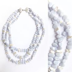 White Freshwater Pearl, Blue Chalcedony, Beaded Necklace, Jewelry Design, Pearls, Stone, Beaded Collar, Rock, Pearl Necklace