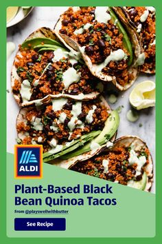 Tackle taco Tuesday in less than 30 minutes with these plant-based black bean quinoa tacos from @playswellwithbutter. Tasty Vegetarian Recipes, Vegan Dinner Recipes, Healthy Eating Recipes, Vegan Dinners, Healthy Cooking, Veggie Recipes, Whole Food Recipes, Cooking Recipes, Quinoa Tacos