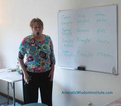 Liz Fulcher caught off guard in mid-taxonomy lesson!  www.aromaticwisdominstitute.com
