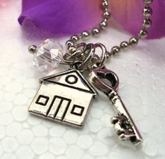 Silver House Charm Necklace Crystal Necklace by CharmAccents, $13.00