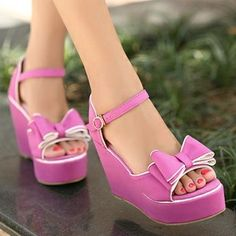 bowtie wedge heels - purple at ILoveCuteShoes.com