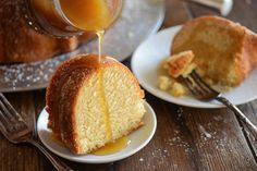 A dense, moist pound cake flavored with almond and amaretto liquor topped with a warm buttery amaretto sauce.