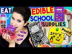 DIY Edible School Supplies   EAT Your Calculator, Notebook, Glue Stick, Eraser & Post-It Notes! - YouTube