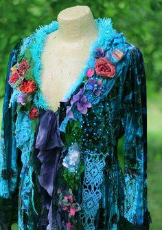 Undersea jacket bohemian altered couture shabby by FleursBoheme