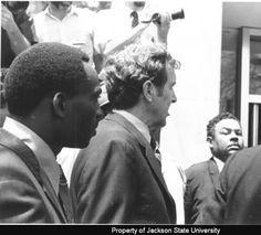 Photograph of Senator Edmund S. Muskie entering masonic temple for James Green's funeral; [May 24, 1970] :: Jackson State University
