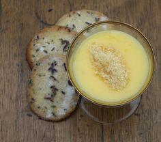 Lemon posset with lavender shortbread.