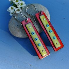Torch Fired Green and Red Dangle Earrings by lonesomedovedesigns, $60.00