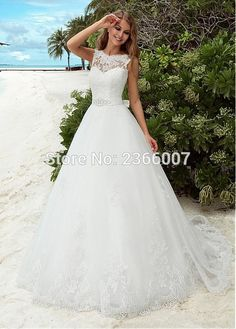 Scoop Sexy Lace Beach Wedding Dress 2016 Romantic A Line Gown With Crystal Sashes Belt Backless Vintage Gowns