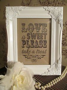 Wedding Candy Bar Sign Love is Sweet Aged Wooden Shabby Chic Vintage Frame