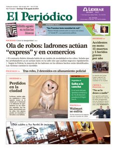 Tapa El Periódico de San Francisco - Domingo 19 de agosto - Córdoba, Argentina