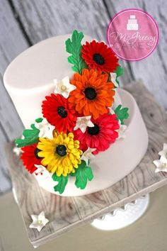 Very Beautiful and Colourful Gerber Daisy Cake.