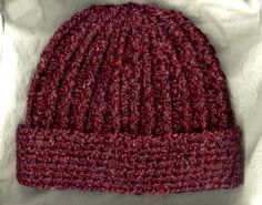 Crocheted Rib Hat by Mielke's Fiber Arts, LLC .  Pattern included.  I like this because you don't have ribs of hat on top of ribs of brim which can become too bulky.