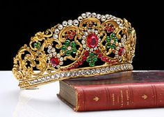 French Antique Crown Tiara with Colored Jewels, circa 1840.