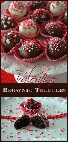 Brownie Truffles, an easy treat for Valentine's Day using a short cut, Brownie Mix in a box! #valentinesday