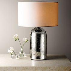 Silver Glass Bottle Table Lamp | The White Company