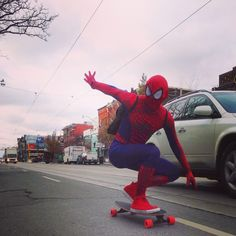 We caught Spider-man commuting to work on queen st.