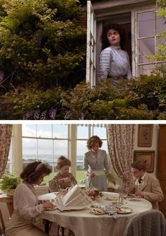 Helena Bonham Carter, Prunella Scales, Emma Thompson, and Adrian Ross Magenty in HOWARDS END (1992). Directed by James Ivory and produced by Ismail Merchant.