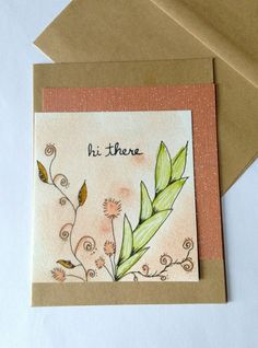 HI THERE Blank inside Hand Doodle and Painted Card by CLMEmporium