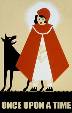 """Little Red Riding Hood"" Art Deco Poster by WPA artist Frank Whitley, Circa 1930"