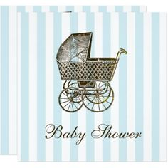 VINTAGE BABY PRAM   BABY SHOWER CARD - baby gifts child new born gift idea diy cyo special unique design