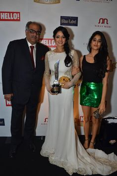 Sridevi, Jhanvi & Boney Kapoor @ HELLO Hall of Fame Awards 2012
