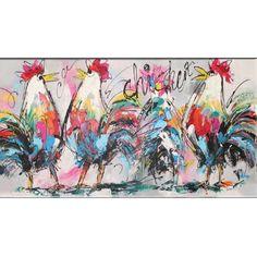 schilderijen van kippen, koeien en andere boerderijdieren. Check http://mooiaandemuur.com/shop/142062/schilderijen-dieren