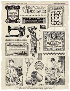 Sewing Notions Rubber Stamp Collection by oxfordimpressions, $24.00