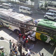 Car pinned by bus on EDSA is most horrific thing you'll see this week Top Gear, Automotive Industry, Philippines, Industrial, Car, Buses, Photography, Automobile, Photograph