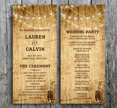 """Rustic wedding program called """"Love in Boots"""" is decorated with string lights, boots and a barrel over a wood background. Set the mood for your country western wedding with this wedding program. By LangDesignShop via Zazzle"""