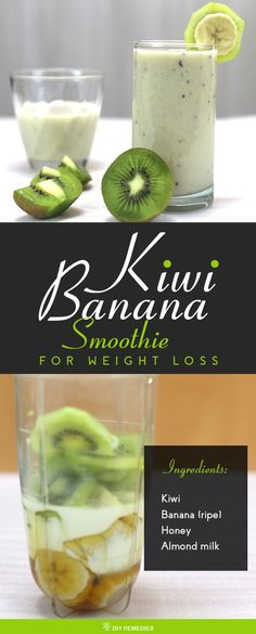 Kiwi Banana Smoothie for Weight Loss    The best time to drink this smoothie is the morning time or in the evening snacks time to curb your appetite and lose the excess calories.  #DIYRemedies