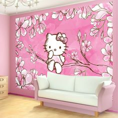 Details About Hello Kitty Cherry Tree Blossom Photo with regard to Brilliant Hello Kitty Wallpaper for Bedroom - All Cartoon Wallpapers Hello Kitty Bedroom, Hello Kitty House, Cat Bedroom, Girls Bedroom, Bedroom Ideas, Tree Wallpaper Bedroom, Photo Wallpaper, Wall Wallpaper, Teenage Girl Bedrooms