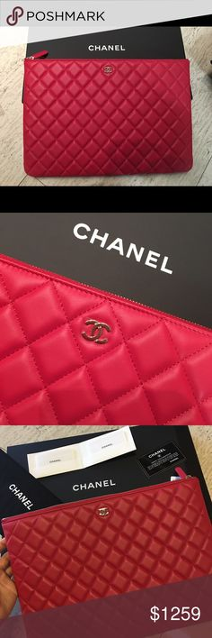 Chanel Clutch O Case Large Hotpink Lamb Brand new with full set! Between pink and red color! CHANEL Bags Clutches & Wristlets