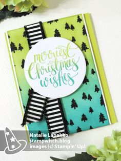Homemade card by Natalie Lapakko featuring Watercolor Christmas stamps and ombre sponging on Merry Little Christmas DSP from Stampin' Up!