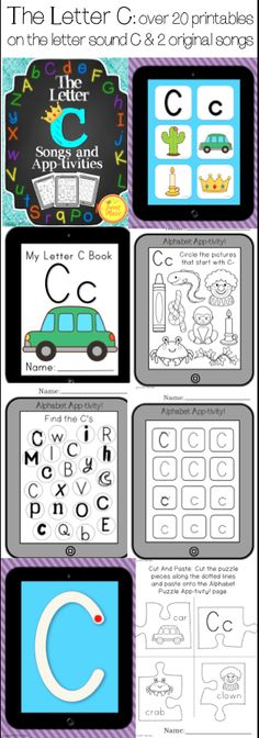 LETTER C APP-TIVITIES! Over 20 pages of printables focussing on the Letter sound C presented in an Ipad style theme! This package also includes 2 original songs by Tweet Music. $
