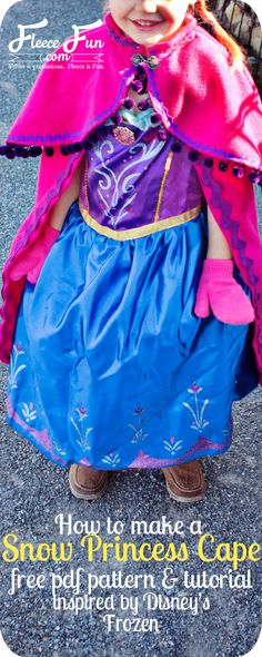 fleece cape inspired by princess Anna's cape from Disney's Frozen. Free pdf pattern too!