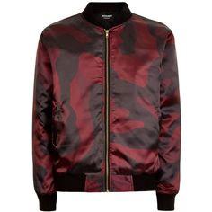 Marbek - Marbek Burgandy DPM Jacket ($124) ❤ liked on Polyvore featuring men's fashion, men's clothing, men's outerwear, men's jackets, mens camo jacket, mens camouflage jacket, mens satin bomber jacket and mens satin jacket